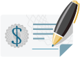 small icon of a pen signing an important document